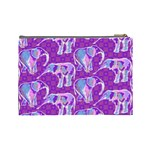 Cute Violet Elephants Pattern Cosmetic Bag (Large)  Back