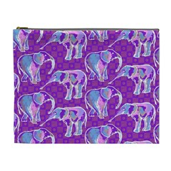 Cute Violet Elephants Pattern Cosmetic Bag (XL)