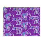 Cute Violet Elephants Pattern Cosmetic Bag (XL) Front