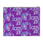 Cute Violet Elephants Pattern Cosmetic Bag (XL) Back