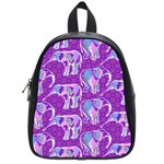 Cute Violet Elephants Pattern School Bags (Small)  Front