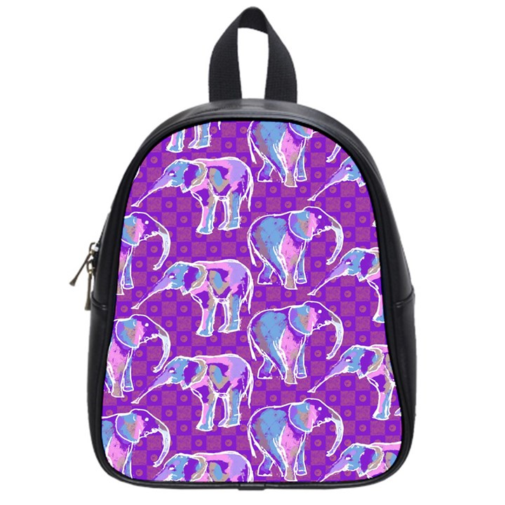Cute Violet Elephants Pattern School Bags (Small)