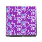 Cute Violet Elephants Pattern Memory Card Reader (Square) Front