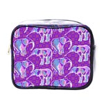 Cute Violet Elephants Pattern Mini Toiletries Bags Front