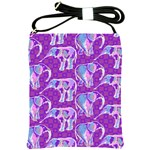 Cute Violet Elephants Pattern Shoulder Sling Bags Front
