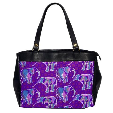 Cute Violet Elephants Pattern Office Handbags