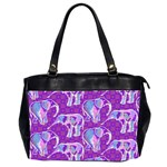 Cute Violet Elephants Pattern Office Handbags (2 Sides)  Front