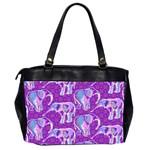 Cute Violet Elephants Pattern Office Handbags (2 Sides)  Back