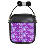 Cute Violet Elephants Pattern Girls Sling Bags Front