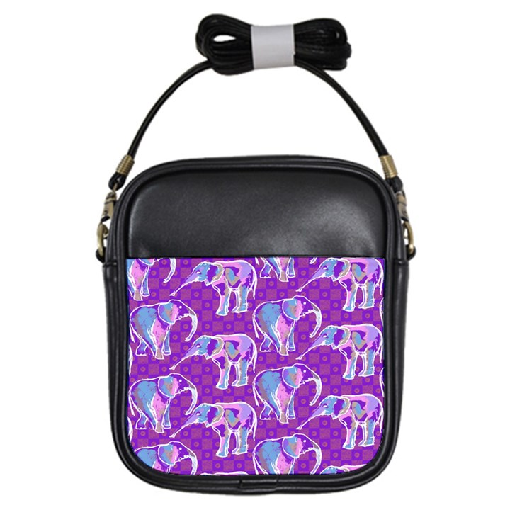Cute Violet Elephants Pattern Girls Sling Bags