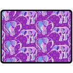 Cute Violet Elephants Pattern Fleece Blanket (Large)  80 x60 Blanket Front