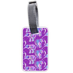 Cute Violet Elephants Pattern Luggage Tags (One Side)