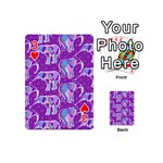 Cute Violet Elephants Pattern Playing Cards 54 (Mini)  Front - Heart3