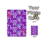 Cute Violet Elephants Pattern Playing Cards 54 (Mini)  Front - Diamond5