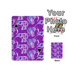 Cute Violet Elephants Pattern Playing Cards 54 (Mini)  Front - Spade7