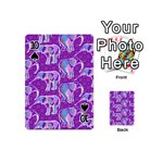 Cute Violet Elephants Pattern Playing Cards 54 (Mini)  Front - Spade10
