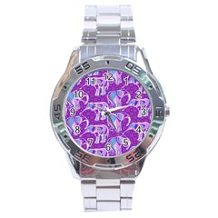 Cute Violet Elephants Pattern Stainless Steel Analogue Watch