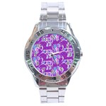 Cute Violet Elephants Pattern Stainless Steel Analogue Watch Front