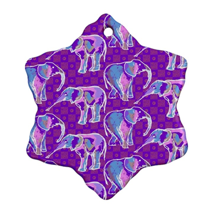 Cute Violet Elephants Pattern Ornament (Snowflake)