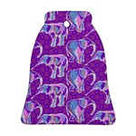 Cute Violet Elephants Pattern Ornament (Bell)  Front