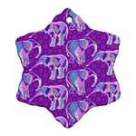 Cute Violet Elephants Pattern Snowflake Ornament (2-Side) Back