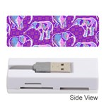 Cute Violet Elephants Pattern Memory Card Reader (Stick)  Front