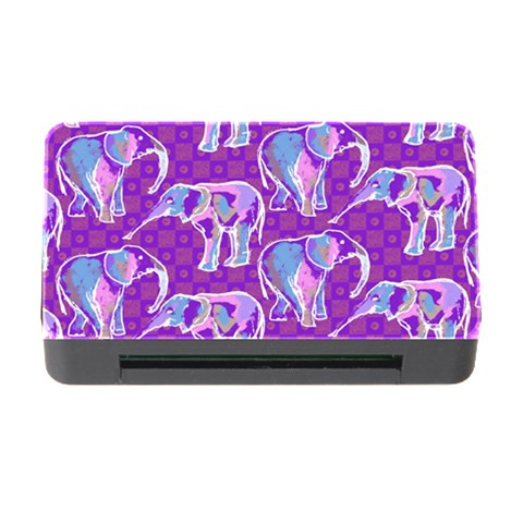 Cute Violet Elephants Pattern Memory Card Reader with CF