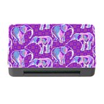 Cute Violet Elephants Pattern Memory Card Reader with CF Front