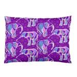 Cute Violet Elephants Pattern Pillow Case (Two Sides) Back