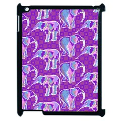 Cute Violet Elephants Pattern Apple iPad 2 Case (Black)