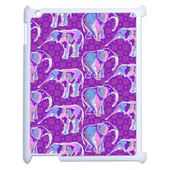 Cute Violet Elephants Pattern Apple iPad 2 Case (White)
