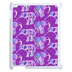 Cute Violet Elephants Pattern Apple iPad 2 Case (White) Front