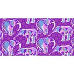 Cute Violet Elephants Pattern Twin Heart Bottom 3D Greeting Card (8x4) Back