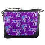 Cute Violet Elephants Pattern Messenger Bags Front