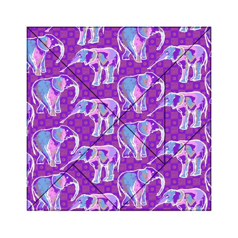 Cute Violet Elephants Pattern Acrylic Tangram Puzzle (6  x 6 )