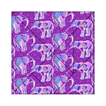Cute Violet Elephants Pattern Acrylic Tangram Puzzle (6  x 6 ) Front