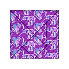 Cute Violet Elephants Pattern Acrylic Tangram Puzzle (4  X 4 )