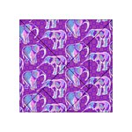 Cute Violet Elephants Pattern Acrylic Tangram Puzzle (4  x 4 ) Front