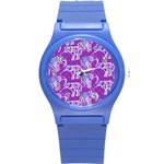 Cute Violet Elephants Pattern Round Plastic Sport Watch (S) Front
