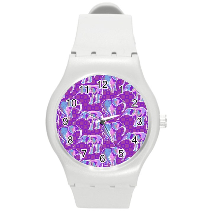 Cute Violet Elephants Pattern Round Plastic Sport Watch (M)