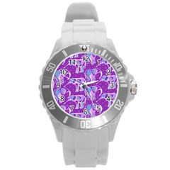 Cute Violet Elephants Pattern Round Plastic Sport Watch (L)