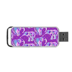 Cute Violet Elephants Pattern Portable Usb Flash (two Sides)