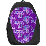Cute Violet Elephants Pattern Backpack Bag Front