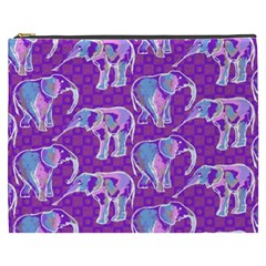 Cute Violet Elephants Pattern Cosmetic Bag (XXXL)