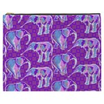 Cute Violet Elephants Pattern Cosmetic Bag (XXXL)  Front