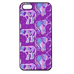 Cute Violet Elephants Pattern Apple iPhone 5 Seamless Case (Black) Front