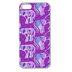 Cute Violet Elephants Pattern Apple Seamless Iphone 5 Case (clear)