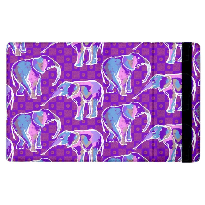 Cute Violet Elephants Pattern Apple iPad 3/4 Flip Case