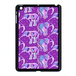 Cute Violet Elephants Pattern Apple iPad Mini Case (Black) Front