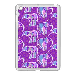 Cute Violet Elephants Pattern Apple Ipad Mini Case (white)
